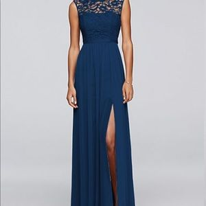 David's Bridal Long Bridesmaid Dress - Blue